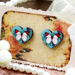 8Pcs Butterfly Heart Handmade Photo Wood Cut Cabochon CA012