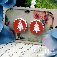 10Pcs 17.5mm Red White Tree Explosion Handmade Photo Wood Cut Cabochon WD39