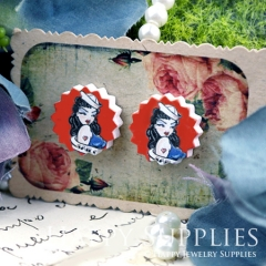 10Pcs 17.5mm Red Lady Explosion Handmade Photo Wood Cut Cabochon WD37
