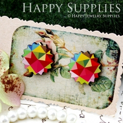 8Pcs Triangle Pattern Explosion Handmade Photo Wood Cut Cabochon CD014