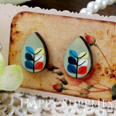8Pcs Tree and Leaf Tear Drop Handmade Photo Wood Cut Cabochon CH010