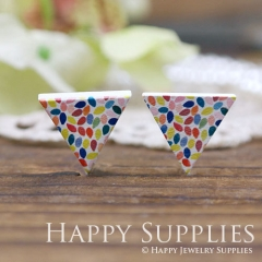 10Pcs Geometry Colorful Triangle Handmade Photo Wood Cut Cabochon WG12