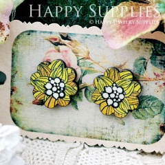 8Pcs Flower Flower Handmade Photo Wood Cut Cabochon CF025