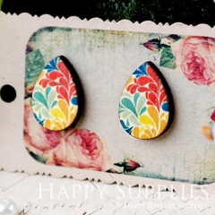 8Pcs Flower Tear Drop Handmade Photo Wood Cut Cabochon CH002
