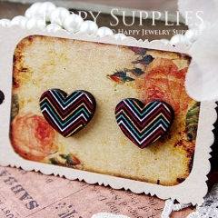 8Pcs The color of the curved lines Heart Handmade Photo Wood Cut Cabochon CA006