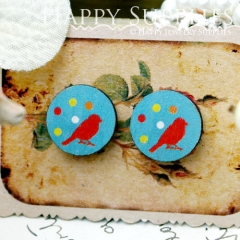 8Pcs 15mm Bird and Dots Round Handmade Photo Wood Cut Cabochon CC066