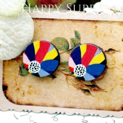 8Pcs 15mm Rainbow and Dots Round Handmade Photo Wood Cut Cabochon CC070