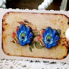 8Pcs Peacork Flower Handmade Photo Wood Cut Cabochon CF030
