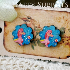 8Pcs Horse Flower Handmade Photo Wood Cut Cabochon CF036