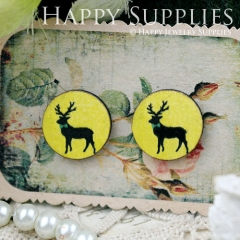 8Pcs 15mm Deer Round Handmade Photo Wood Cut Cabochon CC059