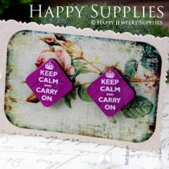 8Pcs Keep Calm and Carry On Diamond Handmade Photo Wood Cut Cabochon CB004