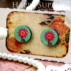 8Pcs 15mm Flower Round Handmade Photo Wood Cut Cabochon CC052