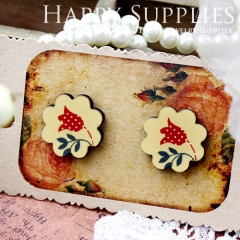 8Pcs Flower and Leaf Flower Handmade Photo Wood Cut Cabochon CF013