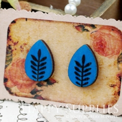 8Pcs Tree Tear Drop Handmade Photo Wood Cut Cabochon CH019