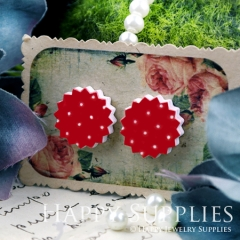 10Pcs 17.5mm Red White Dot Explosion Handmade Photo Wood Cut Cabochon WD38