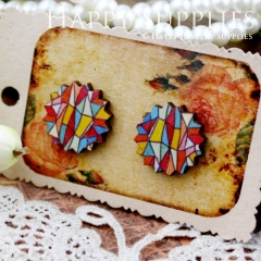 8Pcs Triangle Pattern Explosion Handmade Photo Wood Cut Cabochon CD011