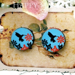 8Pcs 15mm Flower and Bird Round Handmade Photo Wood Cut Cabochon CC064