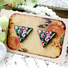 8Pcs Flower Triangle Handmade Photo Wood Cut Cabochon CG008
