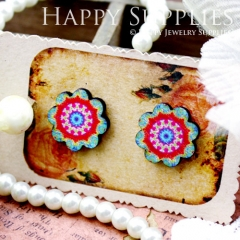 8Pcs Flower Flower Handmade Photo Wood Cut Cabochon CF018