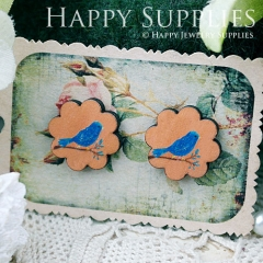 8Pcs Bird Flower Handmade Photo Wood Cut Cabochon CF029