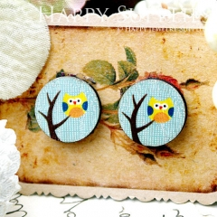 8Pcs 15mm Owl and Tree Round Handmade Photo Wood Cut Cabochon CC073