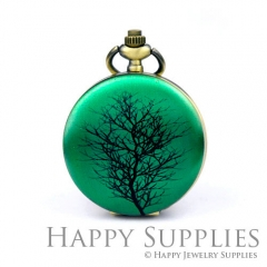 1pcs Tree Handmade Antique Bronze Brass Photo Pocket Watch Pendant PW10