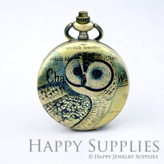 1pcs Owl Handmade Antique Bronze Brass Photo Pocket Watch Pendant PW06