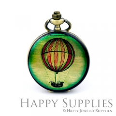 1pcs Hot Air Ballon Handmade Antique Bronze Brass Photo Pocket Watch Pendant PW04