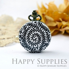 1pcs Leaves Handmade Antique Bronze Brass Photo Pocket Watch Pendant WP06