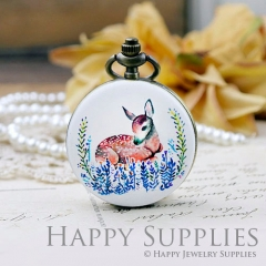 1pcs Deer Handmade Antique Bronze Brass Photo Pocket Watch Pendant WP10
