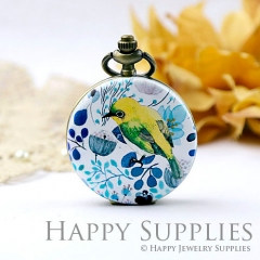 1pcs Bird Handmade Antique Bronze Brass Photo Pocket Watch Pendant WP05
