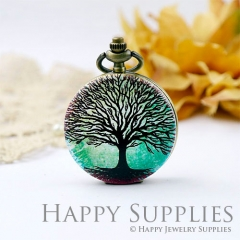 1pcs Life Of Tree Handmade Antique Bronze Brass Photo Pocket Watch Pendant WP07