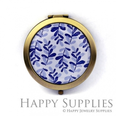1pcs Blue Leaves Handmade Photo Pocket Mirror GS56