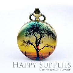 1pcs Tree Handmade Antique Bronze Brass Photo Pocket Watch Pendant PW05