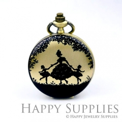 1pcs Dance Handmade Antique Bronze Brass Photo Pocket Watch Pendant PW07