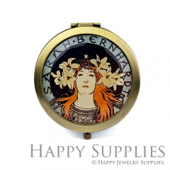 1pcs Lady Lily Flower Handmade Photo Pocket Mirror GS46