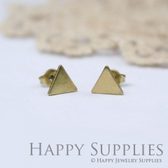 10pcs (5 pairs) Nickel Free - High Quality 8mm High Quality Raw Brass Triangle Earring Finding (ZE154)