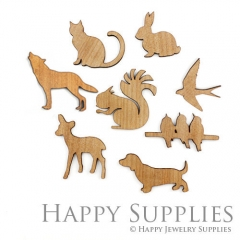 4pcs DIY Wooden Laser Cut Animal Pendants Charms