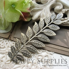 10pcs Nickel Free - High Quality LARGE Antique Bronze Brass Long and Leafy Branch Stamping Charms / Pendant (EBD03-AB)