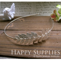 2Pcs Nickel Free - High Quality Large Silver Plated Brass Leaves Pad Headband (ZT111-S)