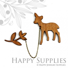 2 sets DIY Laser Cut Deer with Leaf Brooch (Not Finished Product)