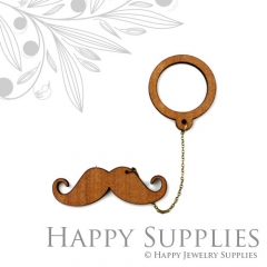 2 sets DIY Laser Cut Moustache with Circle Brooch (Not Finished Product)