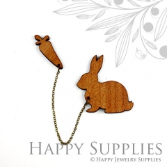 2 sets DIY Laser Cut Rabbit with Carrot Brooch (Not Finished Product)