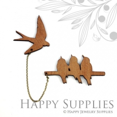 2 sets DIY Laser Cut Birds with Swallow Brooch (Not Finished Product)