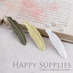 10pcs High Quality (53x13mm) Feather Charms / Pendants (24751 / GG137 / GG137-S)
