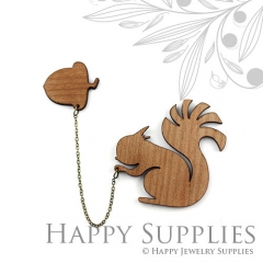 2 sets DIY Laser Cut Squirrel with Acorn Brooch (Not Finished Product)