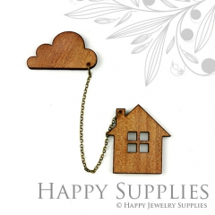 2 sets DIY Laser Cut House with Cloud Brooch (Not Finished Product)