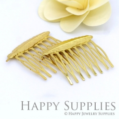 5pcs Nickel Free - High Quality Golden Feather Pad 8 Teeth Barrette Hair Combs (06901-G)