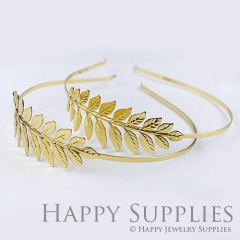 2Pcs Nickel Free - High Quality Large Golden Leaves Pad Headband Jewelry Supplies(ZT111-G)