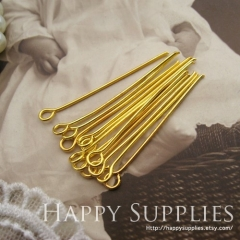 200pcs Nickel Free - 30mm Long Golden Eyepins (W122)